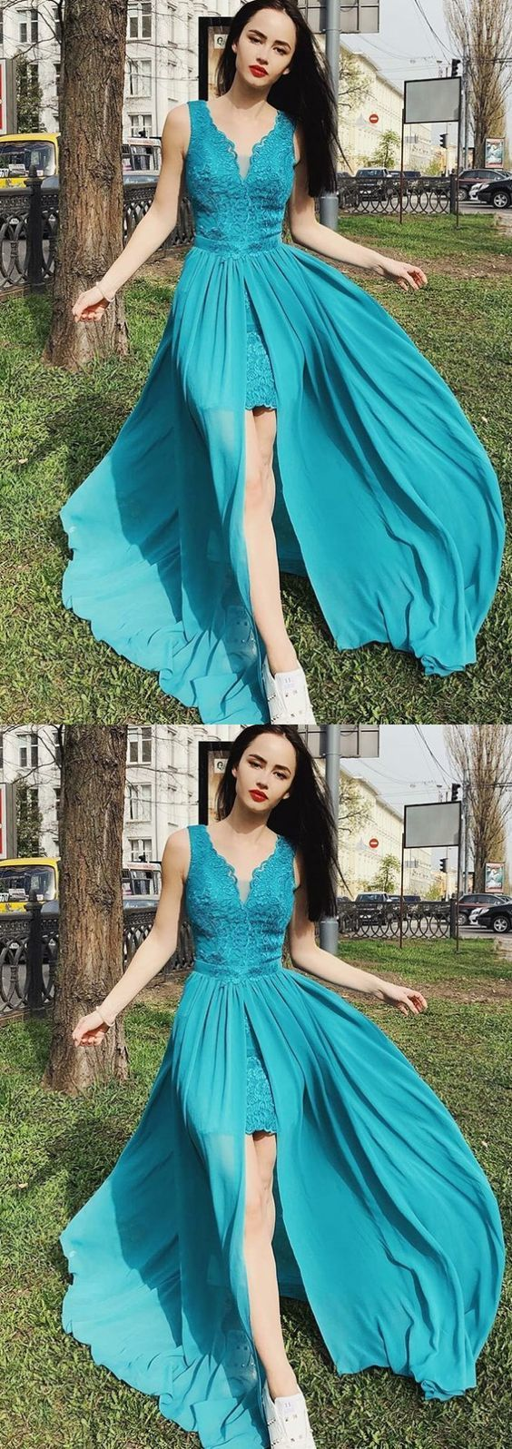 V-Neck Turquoise Chiffon Prom Party, Homecoming Dress with Lace ,High Quality