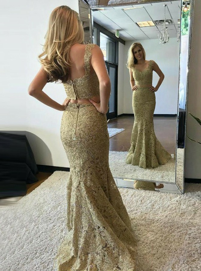 Gold Lace Two Pieces Prom Dresses