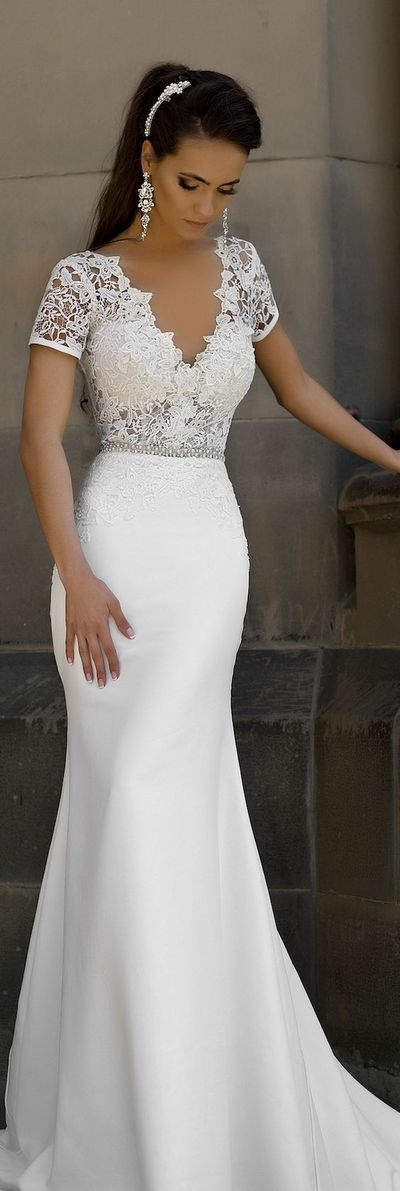 Short Sleeve Lace V Back Mermaid Wedding Dress Sexy Party Prom Dresses New Style Fashion Evening Gowns For Teens Girls