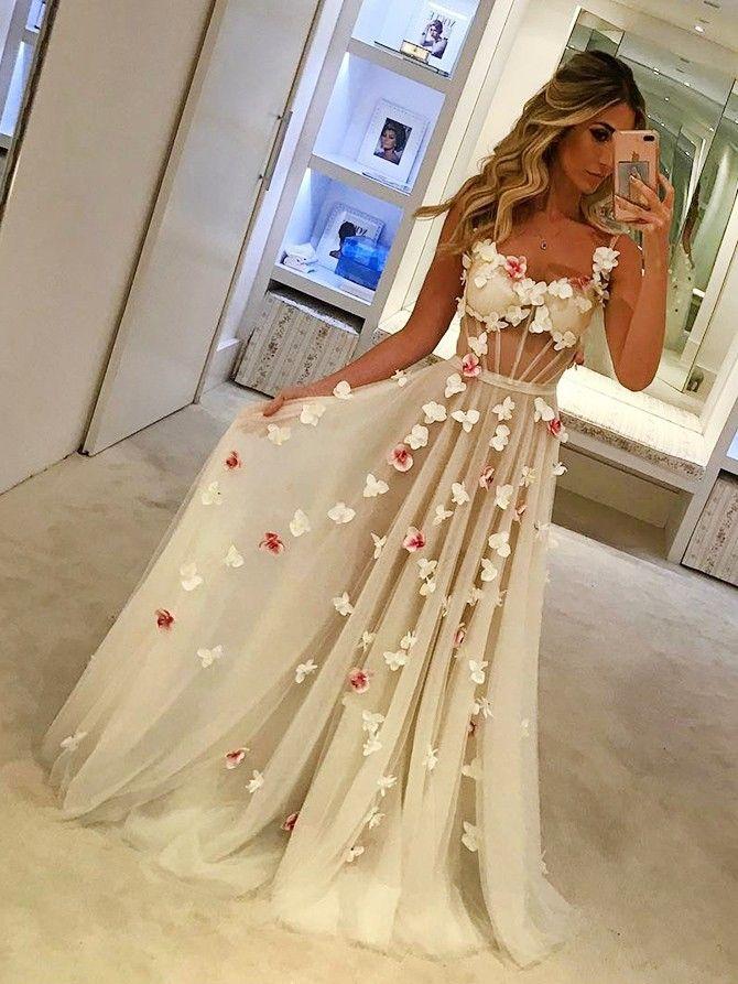 Pretty Appliques Floor-length Straps Charming Fashion High Quality Prom Dresses,
