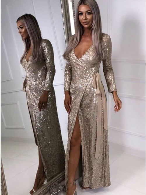Long Sleeves V Neck Sequin Prom Dress with by prom dresses on Zibbet