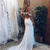 Romantic Off the Shoulder White Lace Mermaid Long Bridal Gown wide Side Slit
