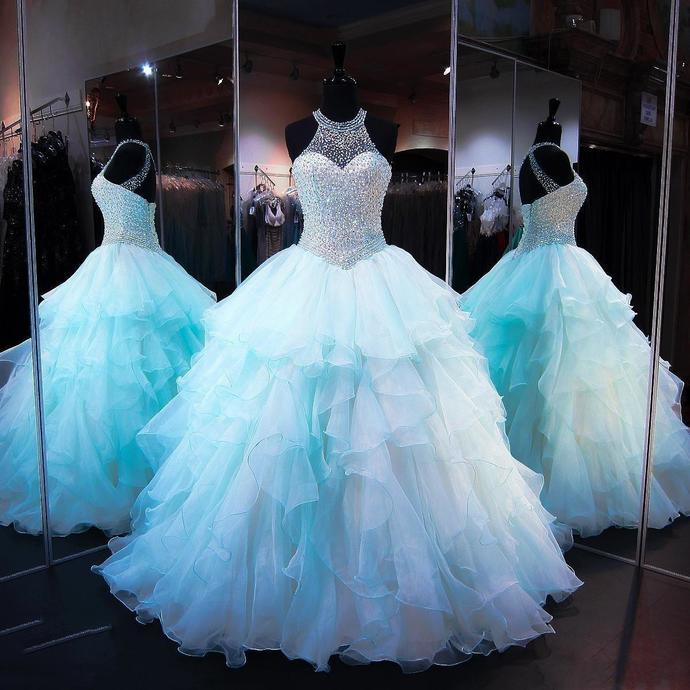 Aqua Quinceanera Dresses 2018 Modest Masquerade Ball by DRESS on