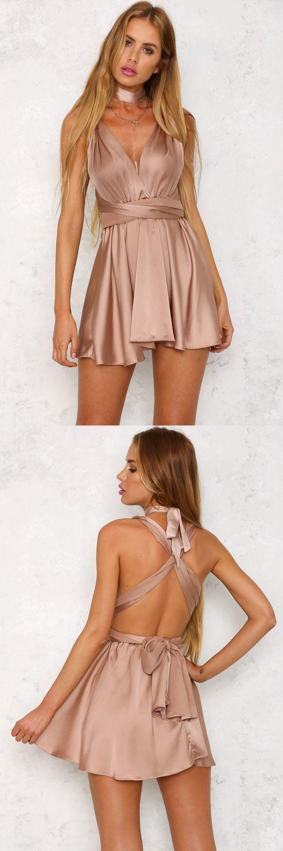 Copy of A-Line Deep V-Neck Short Blush Convertible Homecoming Dress