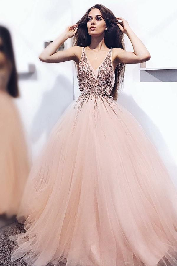 Hot Sale Admirable Prom Dresses A-Line A-Line Pearl Pink Tulle V Neck Long Prom