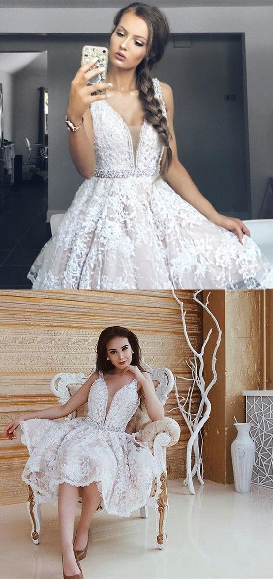 Homecoming Dress, Sexy Homecoming Dress, A-Line Homecoming Dress, Cut V-Neck