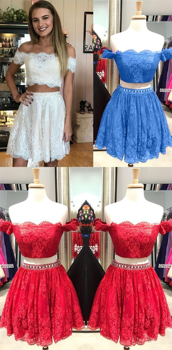 a7e5861ea7dc5 lace homecoming dress, cute prom dress, two piece homecoming dress, short  prom