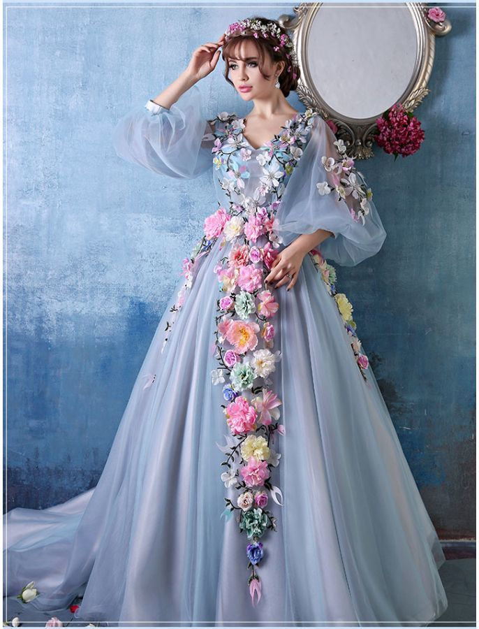 BISHOP SLEEVES FLORAL BALL GOWN PROM GOWNS