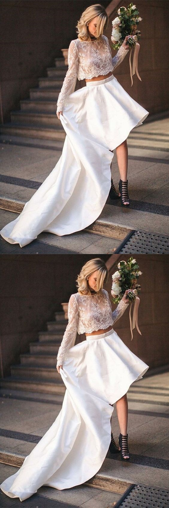 Two Piece Bateau High Low Satin Wedding Dress with Lace Top