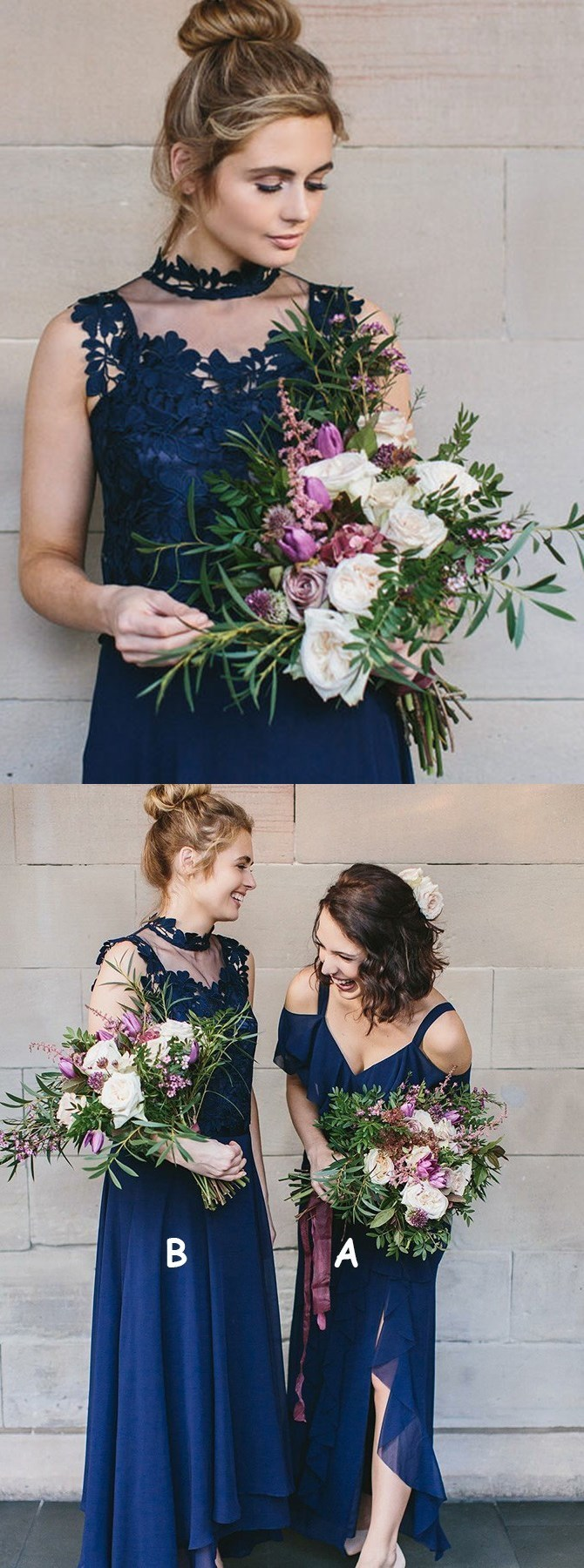 Elegant royal blue formal party dresses, special mismatched bridesmaid dresses