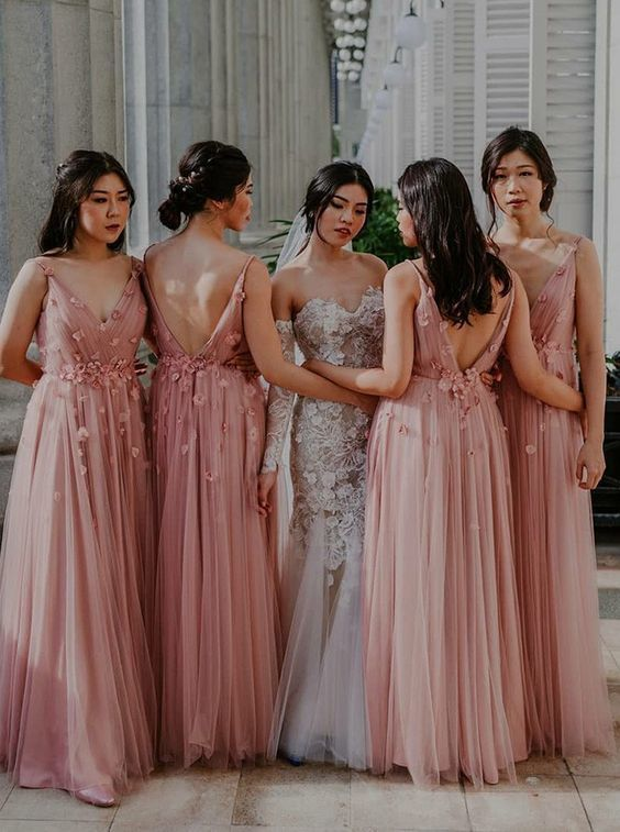 A-Line V-Neck Long Pink Tulle Bridesmaid Dress with Flowers
