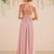 Simple Pink Chiffon A-Line Long Bridesmaid Prom Dress