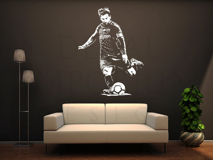 Lionel Messi Argentina Barcelona Soccer Football Leo Wall Decal Boy Girl Room