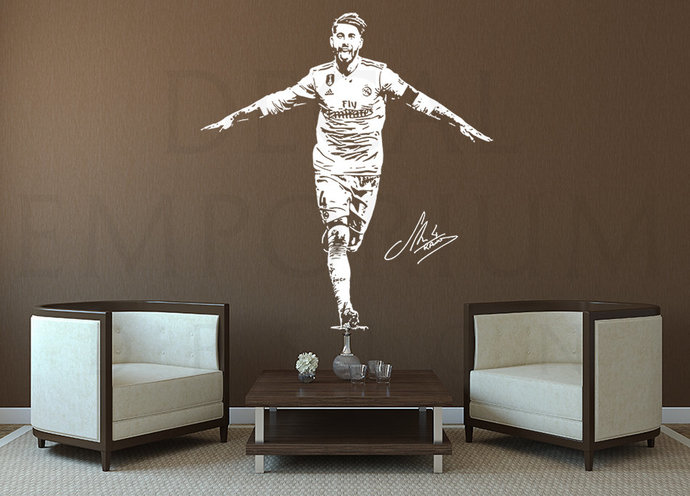 Sergio Ramos Spain Real Madrid Soccer Football Wall Decal Boy Girl Room