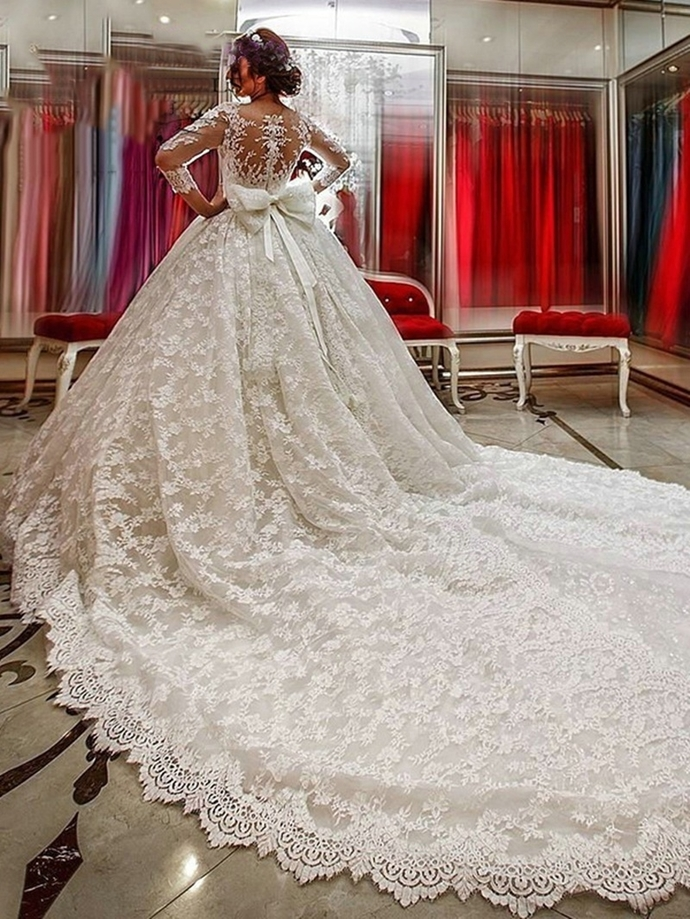 2dd5989066c3 Neck Long Sleeves Lace Appliques Court Train Wedding Dress Lace Long Sleeves