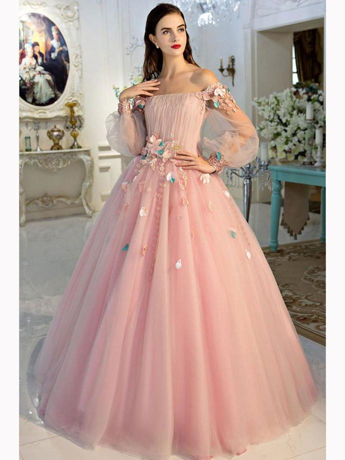 CHIC A-LINE PINK PROM DRESS,OFF-THE-SHOULDER by prom dresses on Zibbet