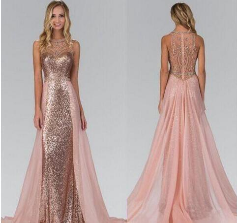 Chic Rose Gold Sequined Prom Dresses With by prom dresses on Zibbet