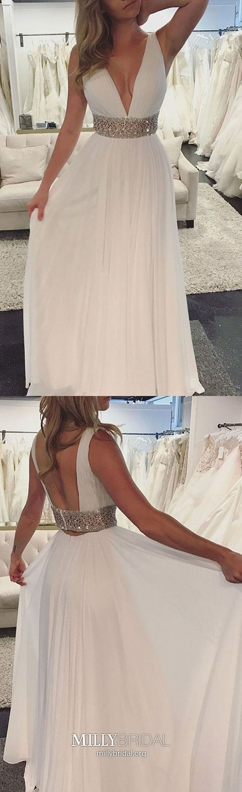 White Prom Dresses Long,Sexy Prom Dresses Open Back,A-line Prom Dresses
