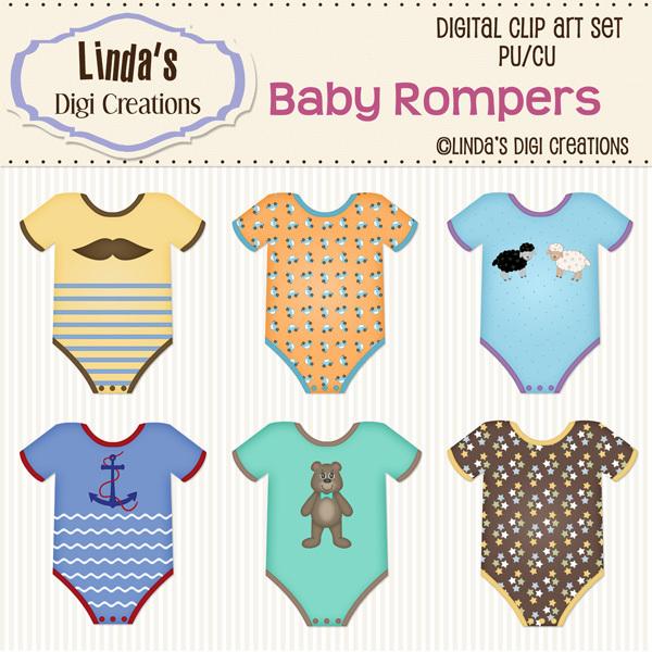 Baby Rompers (Clip Art Set)