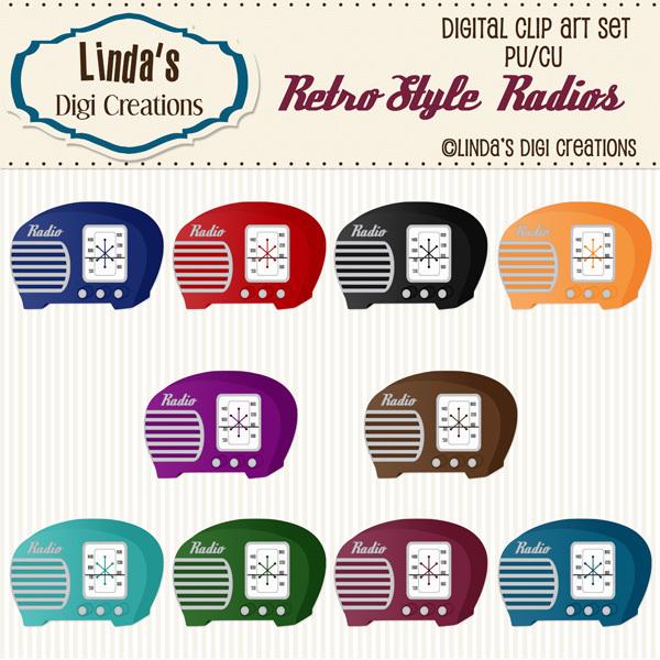Retro Style Radios (ClipArt Set)