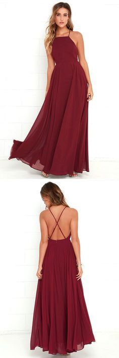 burgundy long prom dress, halter chiffon A-Line prom dress