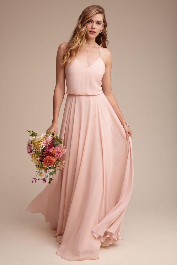Charming Pink Bridesmaid Dress, Spaghetti Straps Long Bridesmaid Dress, Chiffon