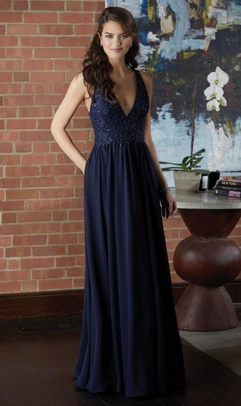 V -Neck Bridesmaid Dress, Navy Blue Bridesmaid Dress, Chiffon Long Bridesmaid