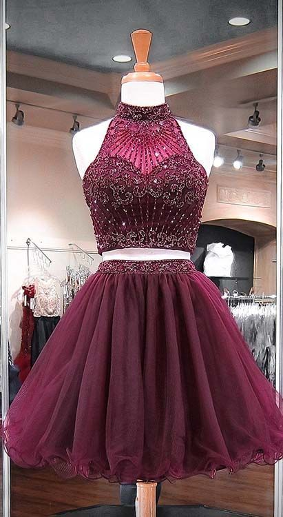 Burgundy Two Piece Homecoming Dress, Beading Stylish Short Tulle Prom Party
