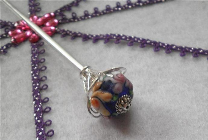 Blue Lavender Orange Flower Shawl Stick