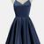SIMPLE DARK BLUE SPAGHETTI STRAPS SHORT PROM HOMECOMING DRESS PARTY GOWNS