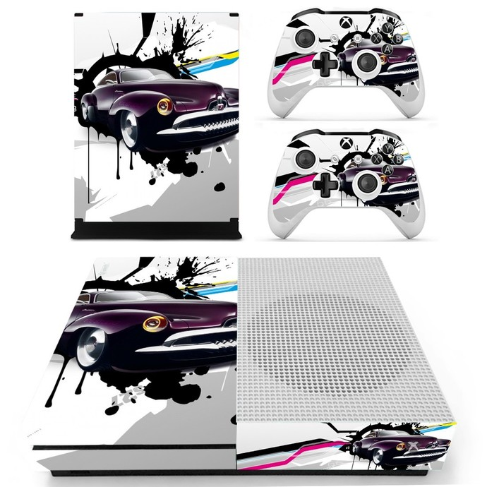 Abstract Car Wallpapers decal skin for xbox one S console and 2 controllers