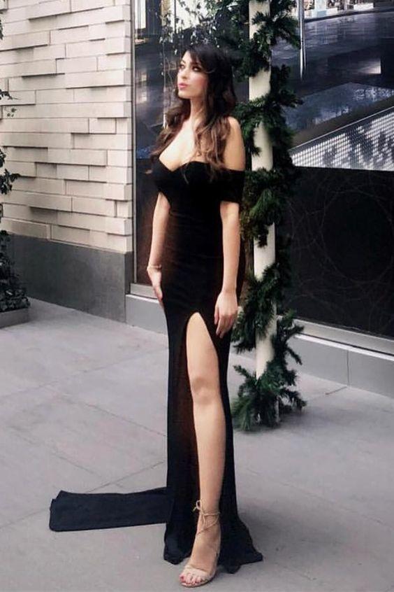 black mermaid off the shoulder long prom dresses,sexy leg split simple prom