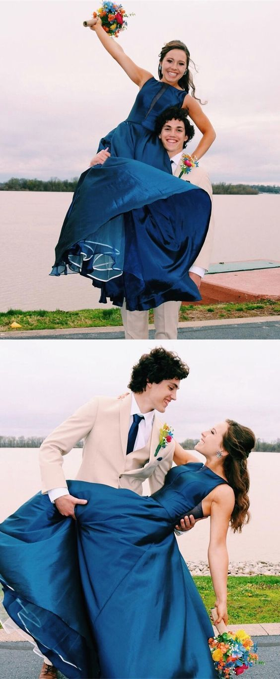 simple dark blue chiffon prom dresses long, a line graduation party dress for
