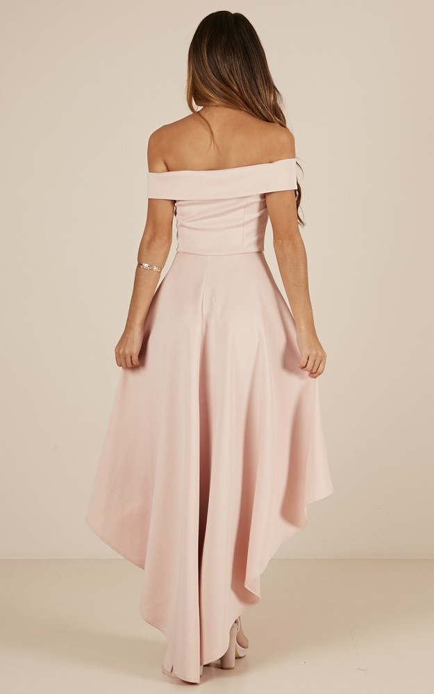 Sexy Off the Shoulder Pink High Low Party Dress
