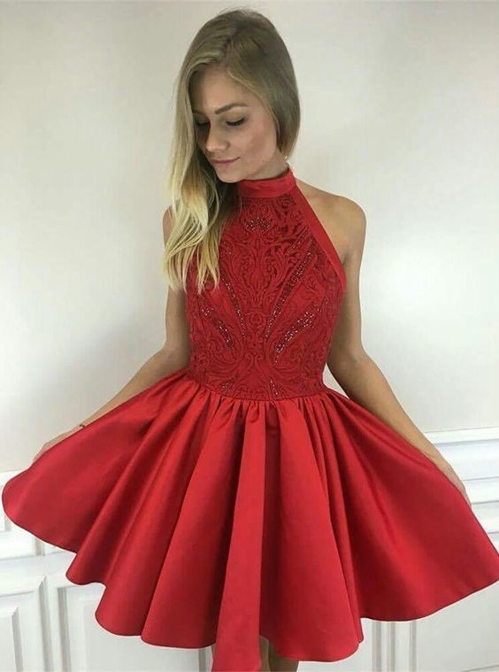 59cfd142d7 A-Line Halter Sleeveless Short Red Satin Homecoming Dress with Lace Beading