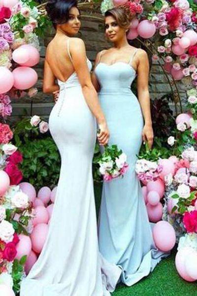 Sweetheart Sweep Train Open Back Mermaid Spaghetti Straps Bridesmaid Dress