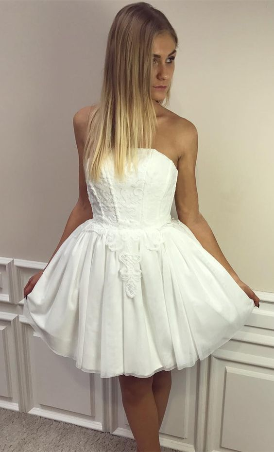 51eff47e24d A-Line Strapless Short White Tulle Homecoming Dress by Hiprom on