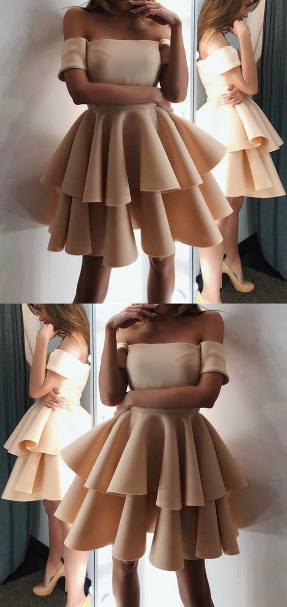 Cute A-line Off The Shoulder Ruffles Homecoming Dresses Short Champagne Prom