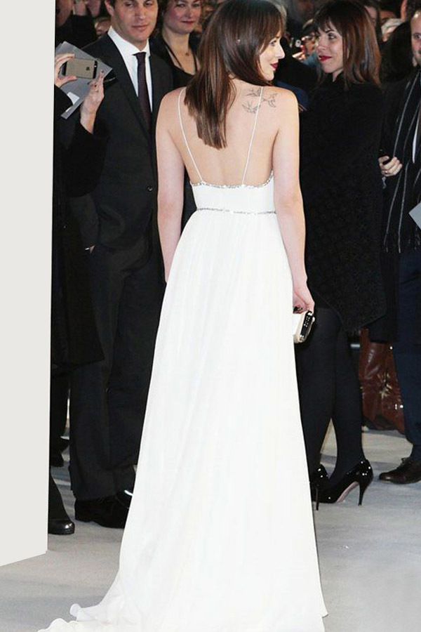 A-Line Spaghetti Straps White Chiffon Sleeveless Backless Prom Dress with