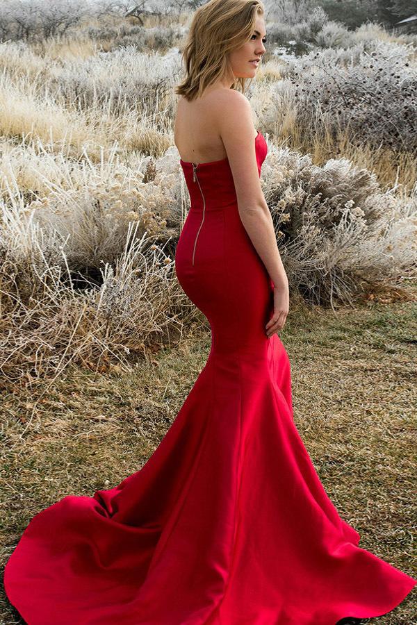 Mermaid Strapless Sweep Train Red Satin Sleeveless Split Pleats Prom Dress