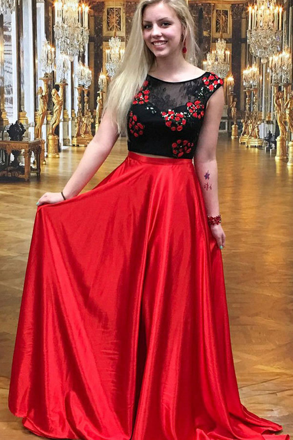 Two Piece Crew Sweep Train Red Satin Open Back Prom Dress with Embroidery Lace