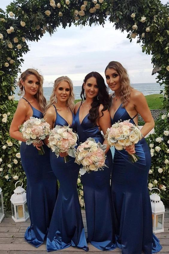 Mermaid V-Neck Backless Floor-Length Royal Blue Bridesmaid Dress with Ruched