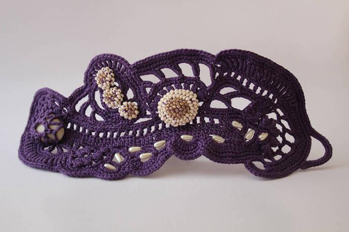 Handmade Wide Cuff Bracelet Purple Wrist By Angelicadelic On Zibbet