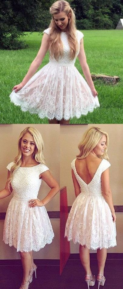 Lace Homecoming Dress V Back Party Dress Knee By Rosyprom On Zibbet
