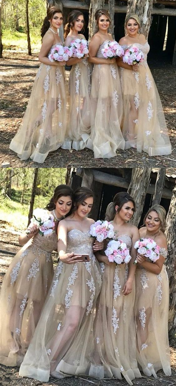 A-Line Sweetheart Floor-Length Champagne Tulle Bridesmaid Dress with Appliques