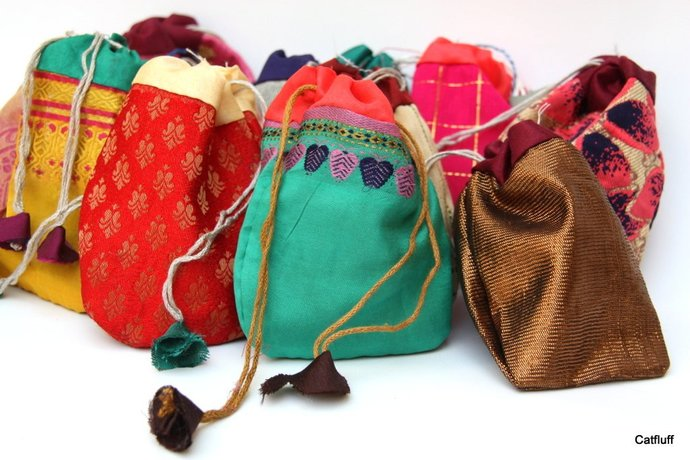 Jewerly Bags, Indian Sari Pouches, Potli Pouches,, 50 Ass. pieces, Party Favor