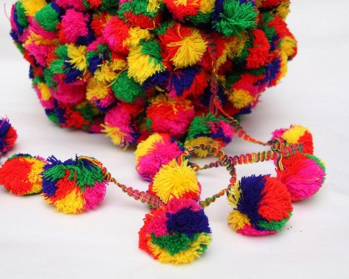 Extra Large Pompom Trim,Pom Pom Lace, 1 yard, Home Decor,Party Garland, Gypsy,