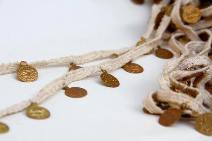 Coin Fringe Trim, Indian Trim Lace, DIY Jean Jacket Trim, 1 yard, Hippy, Rustic,