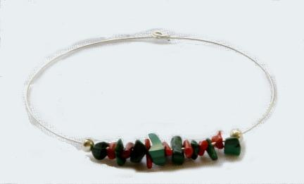 Bracelet -Sterling Silver with Red Coral and Malachite Chips