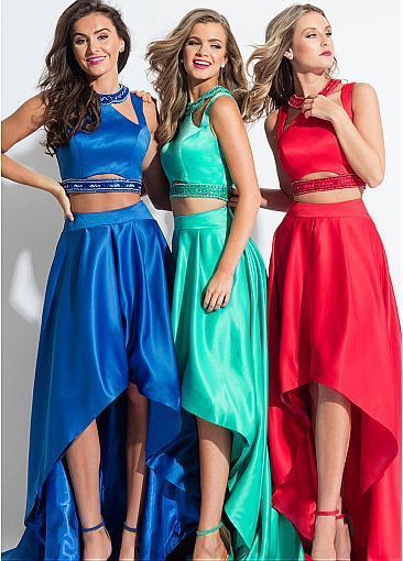 Marvelous Satin ,Jewel Neckline, Cut-out Two-piece, Hi-lo Prom Dress With